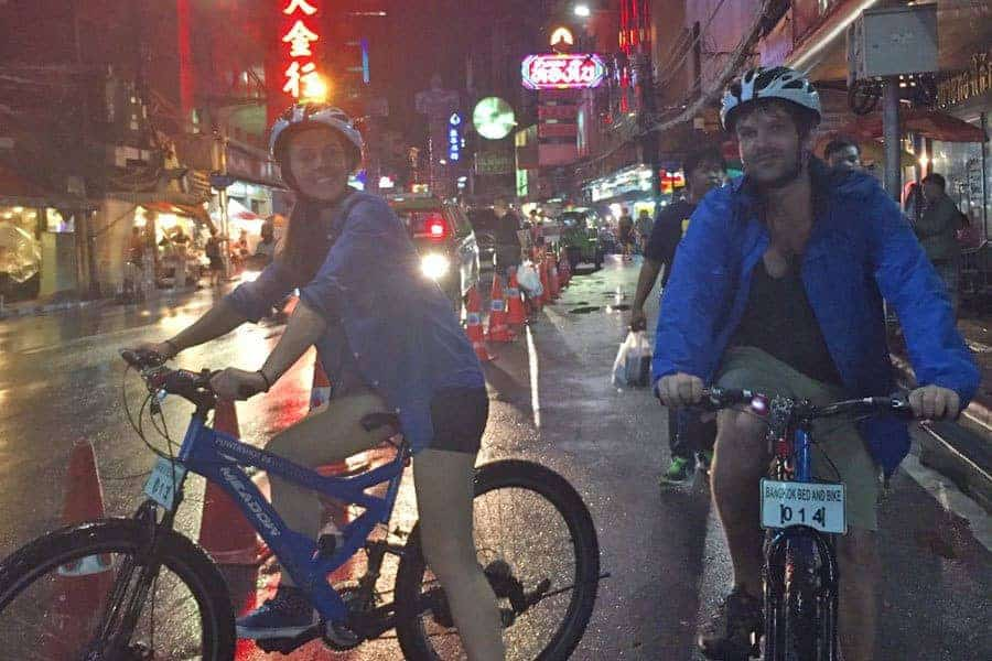 Nikki and Dave on a bicycle tour of Bangkok with Bed and Bike