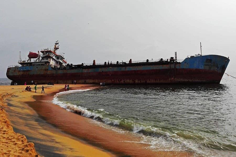 Beached-ship-in-Kerala-India