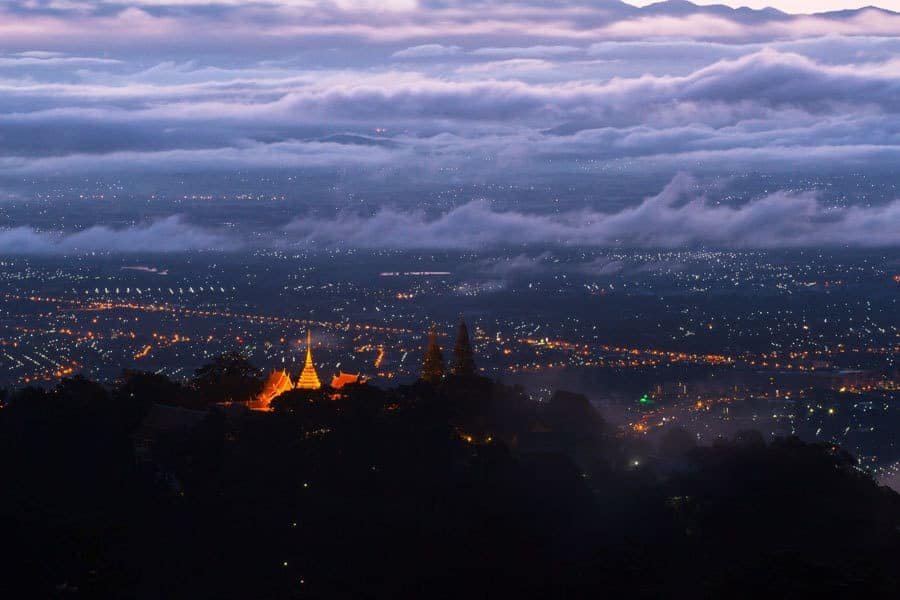 Amazing views of Doi Suthep Temple and Chiang Mai at night.