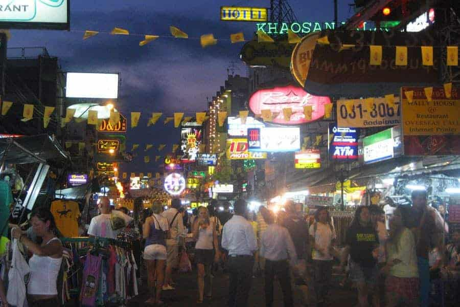 A very busy Khao San Road at night
