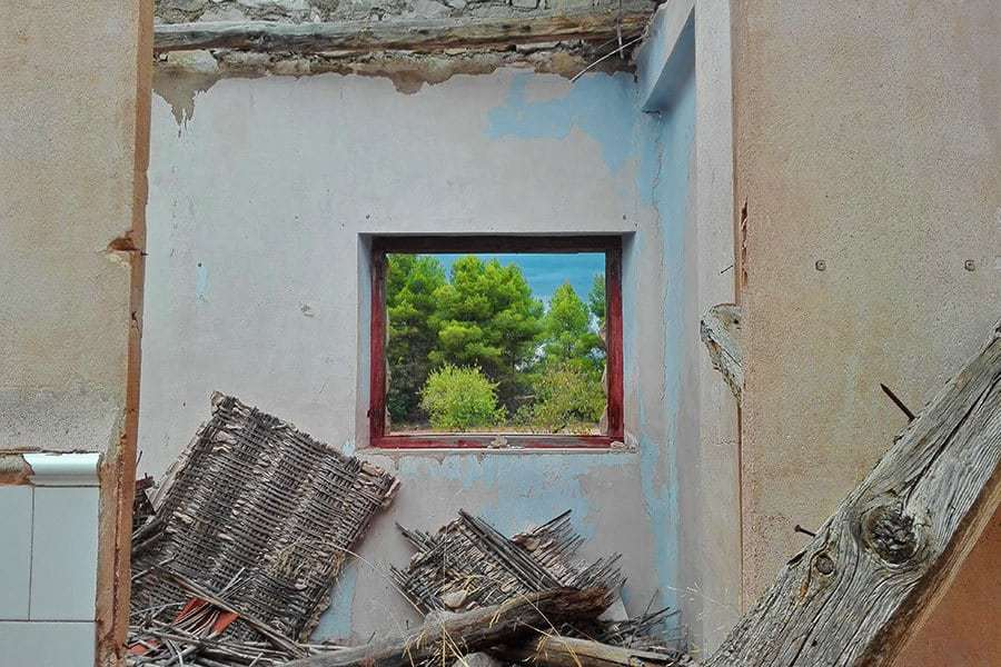 Pine-trees-seen-through-window-of-abandoned-railway-station-building-in-Valderrobres,-Aragon,-Spain