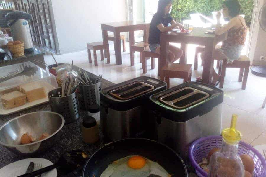 DIY Breakfast at Siamaze Hostel.