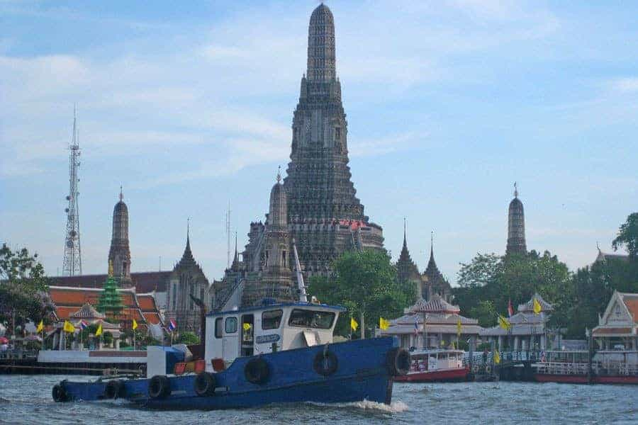 Wat Arun, on the west side of the Chao Phraya River.