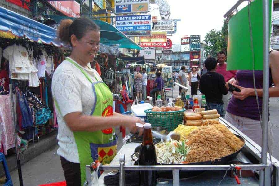 Cheap pad Thai being sold on the Khao San Road, Bangkok.