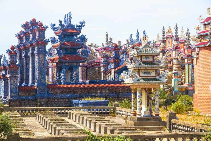 Colourful tombs in An Bang Cemetery, Vietnam.