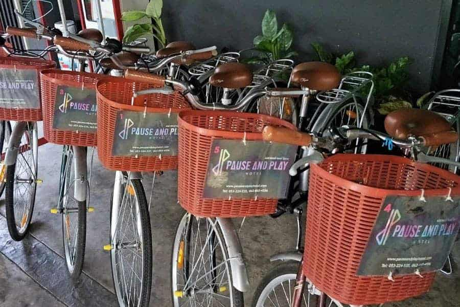 Bicycles for rent at Pause and Play Hotel, Chiang Mai.