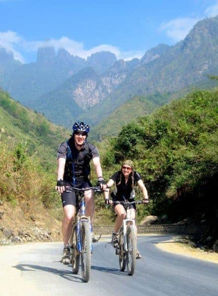 Cycling through amazing countryside on a redspokes cycling tour in North Vietnam.