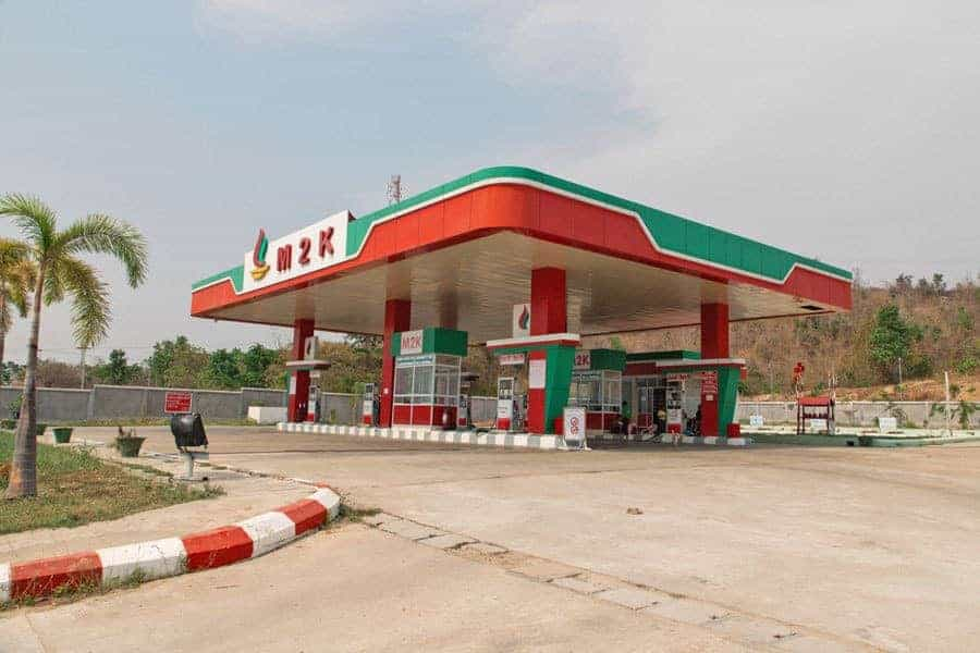 An empty petrol station in Naypidaw, Myanmar.