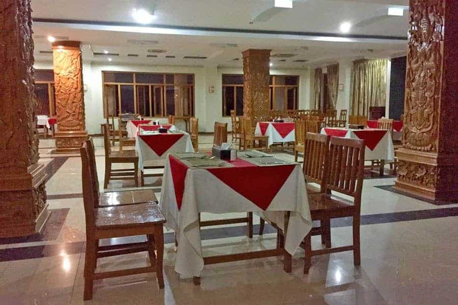 Empty tables at Jade City Hotel in Naypyidaw, Myanmar.