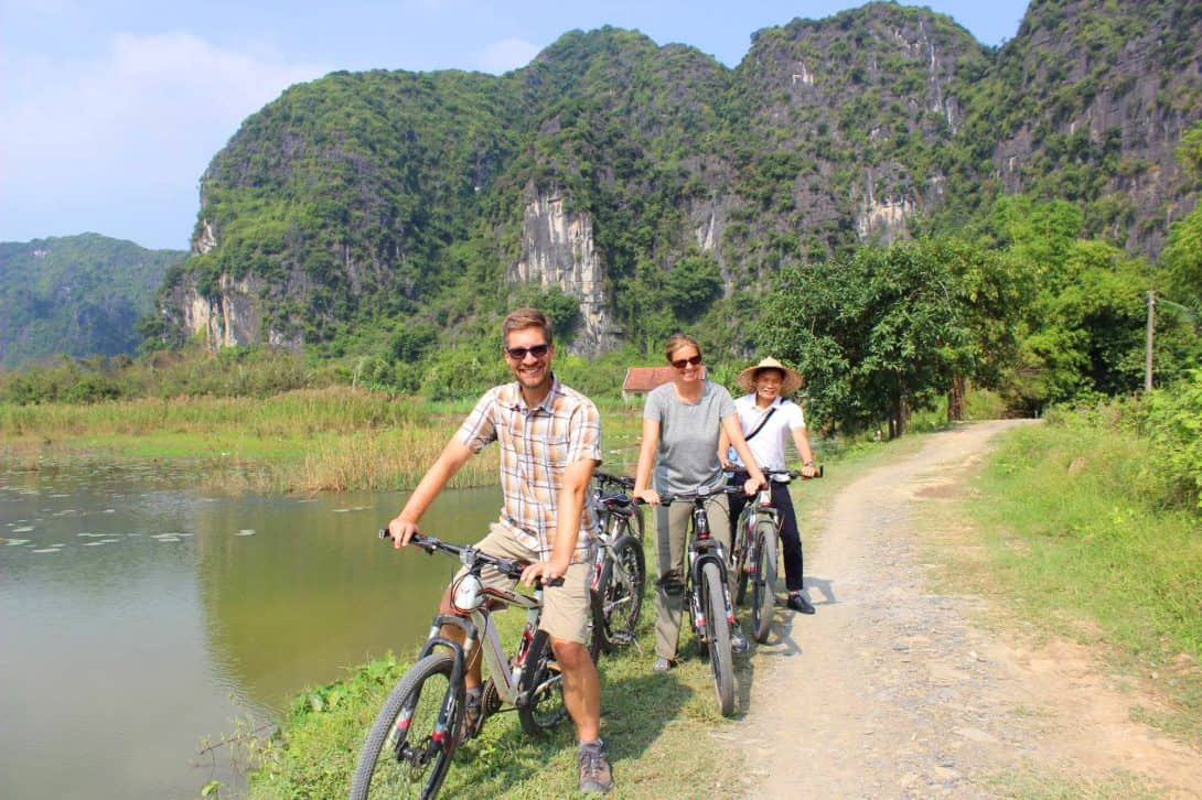 Cycling on the Ninh Binh Day Tour With Friends Travel Vietnam.