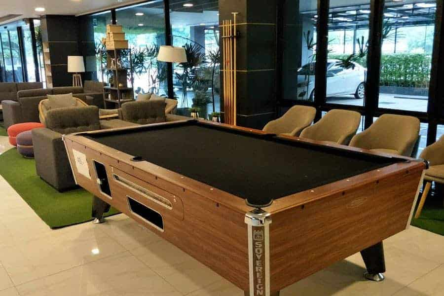 Pool table at Pause and Play Hotel, Chiang Mai.
