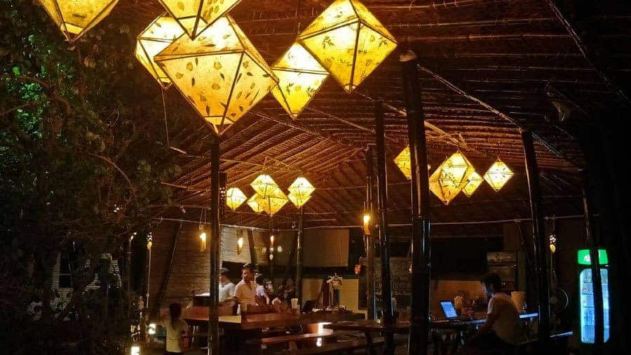 The lantern lit courtyard at Thanlwin Guesthouse.