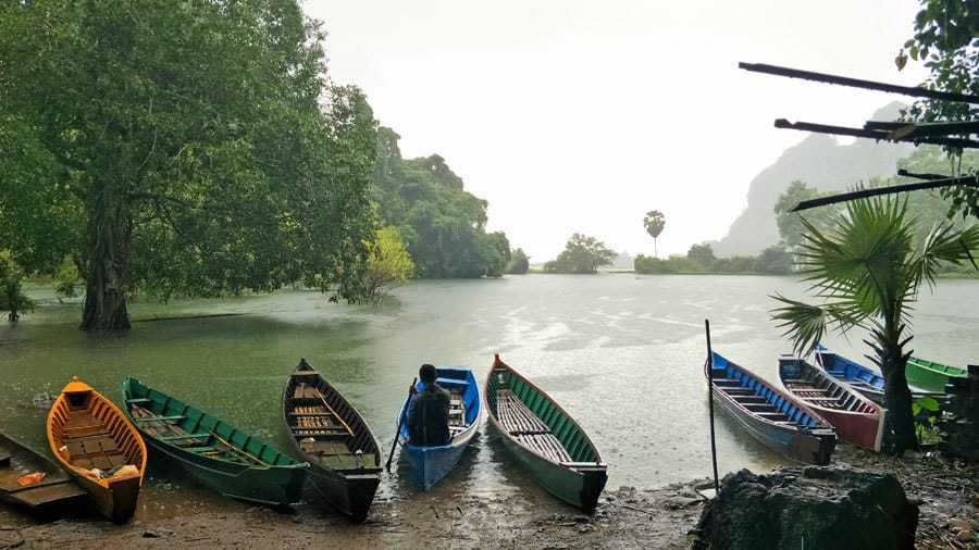 The secret lake at the far end of Saddan Cave, Hpa An.