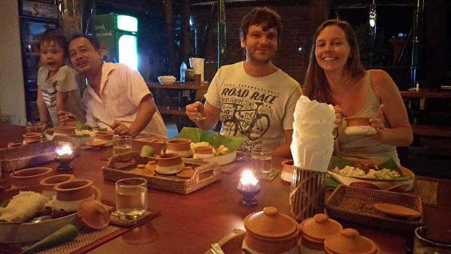 Family dinner of chicken curry, coconut rice on our last night at Thanlwin Guesthouse.