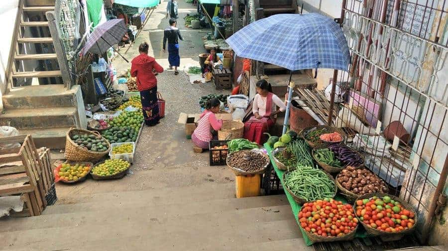 Fresh, locally grown fruit and vegetables at Kalaw Market, Myanmar.