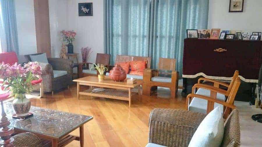 The lounge of Ma Ma Guesthouse, Mandalay.