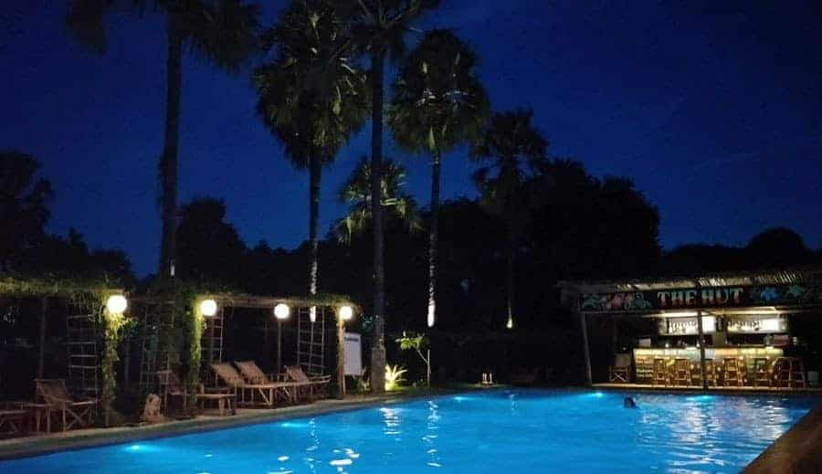 The swimming pool by night at Myanmar Han Hotel, Bagan.