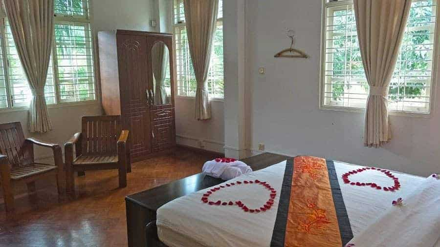 The beautiful superior room at Thanlwin Guesthouse.