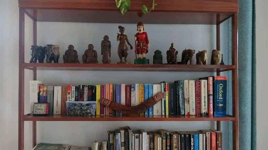 The bookshelf of Ma Ma Guesthouse, Mandalay.