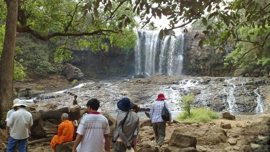 Tourists arrive at Bou Sra Waterfall Mondulkiri Cambodia.