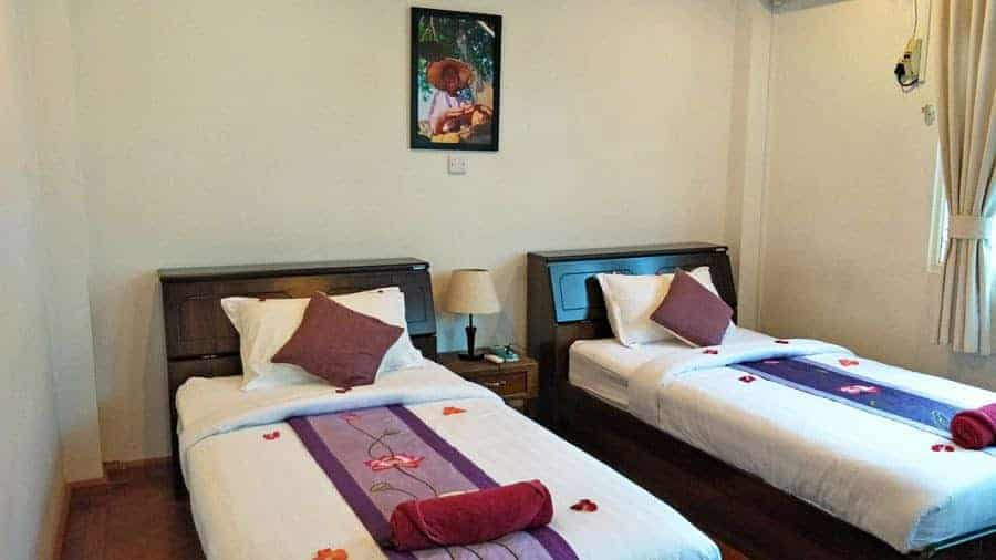 Our twin room at Thanlwin Guesthouse, Yangon.