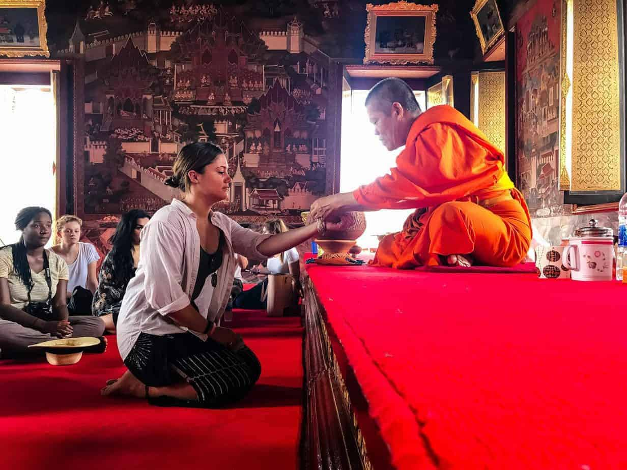 Blessing from a monk in Bangkok, Thailand.