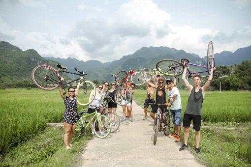 Cycling around Mai Chau Valley, Vietnam.