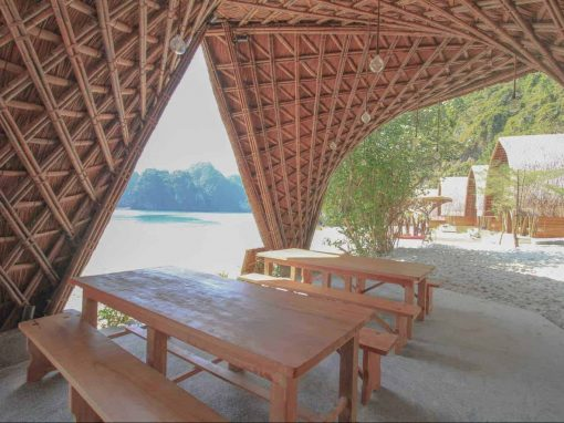 Inside the bungalows at Castaways Island, Halong Bay, Vietnam.