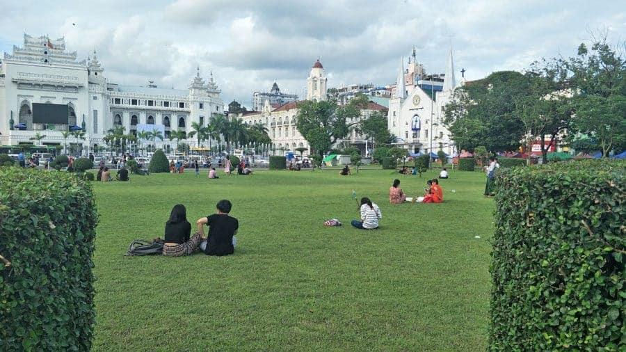 Locals relax in Maha Bandula Park in Yangon.