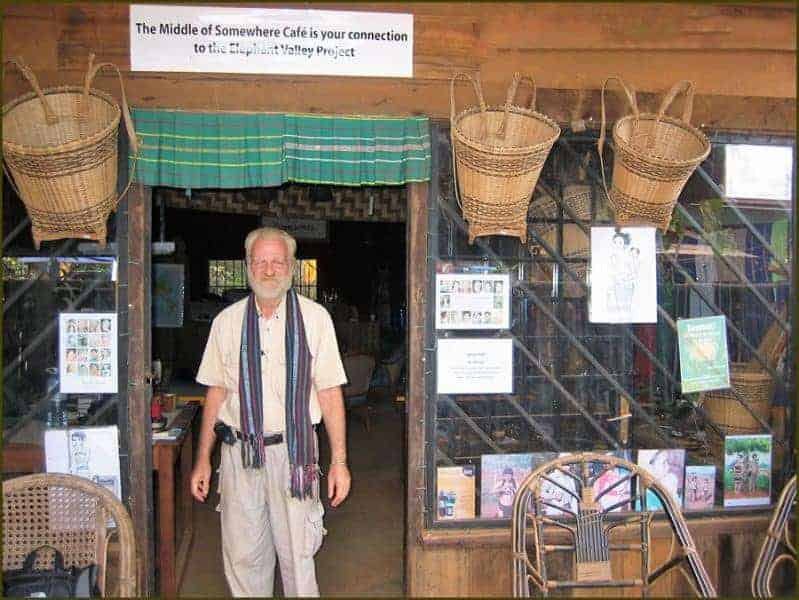 "Bill Herod outside his café ""The Middle of Somewhere"" in Mondolkuri, Cambodia."