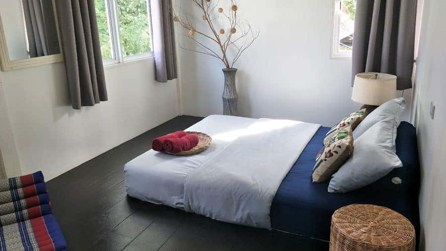 Blue bedroom at Sweet Life Community Guesthouse, Koh Lanta, Thailand.