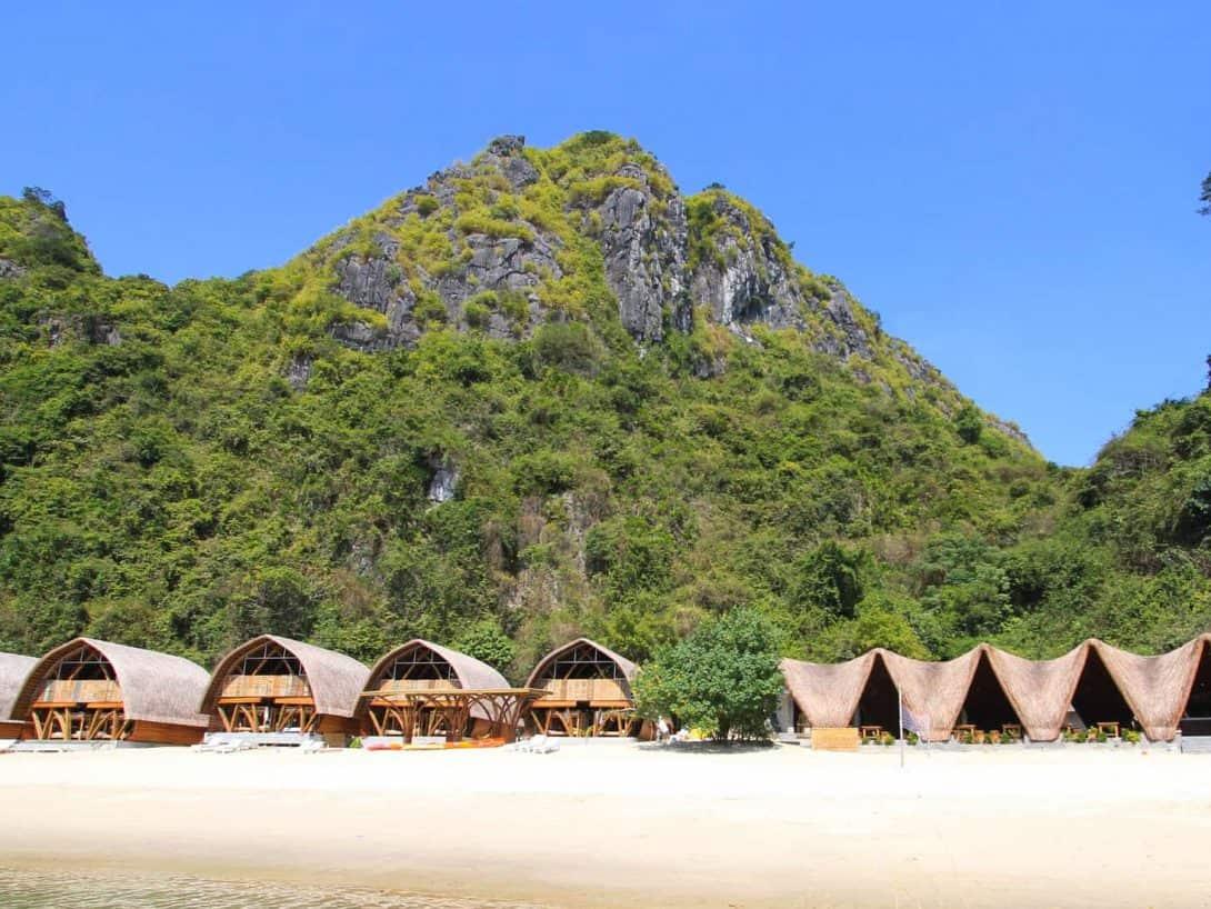 The Huts At Castaways Island, Halong Bay, Vietnam.
