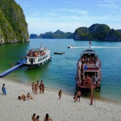 The Beach at Castaways Island, Halong Bay.