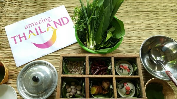 A tray of ingredients at a Lanna cooking class, Chiang Mai, Thailand