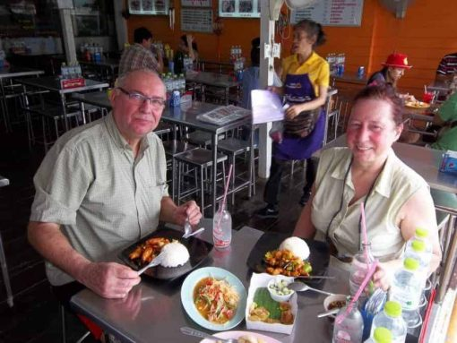Eating Thai food on Bangkok Bike Tours