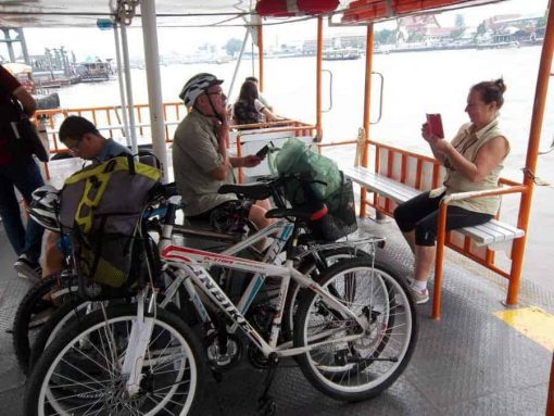 On the ferry in Bangkok - Bangkok Bike Tours