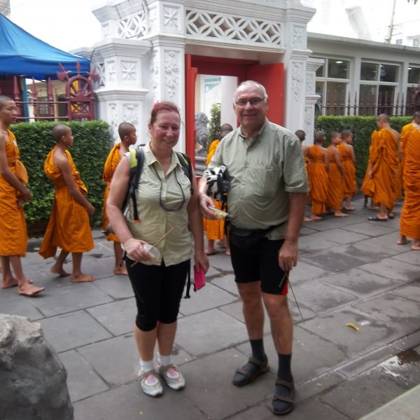 At the Temple in Bangkok - During Bangkok Cycling Tours