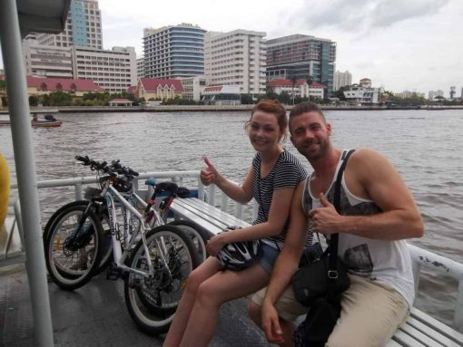 On the ferry Chao Phraya River - Bangkok Bike Tours