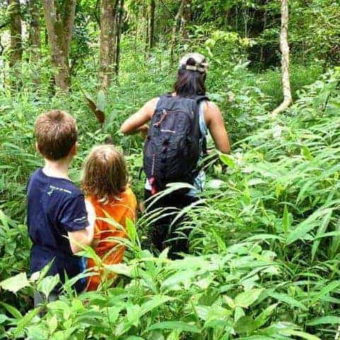 Family Trekking in Pai, Northern Thailand.