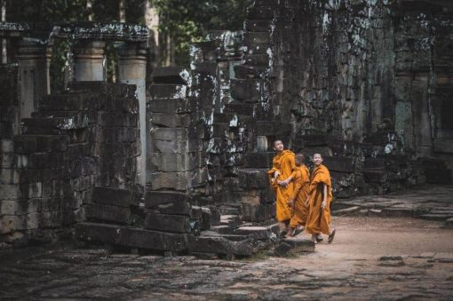 Monks at Angkor Complex Cambodia
