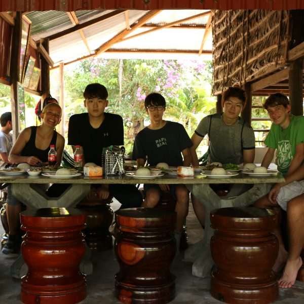Dinner during a Cambodian Cycle Tour with Butterfly Tours