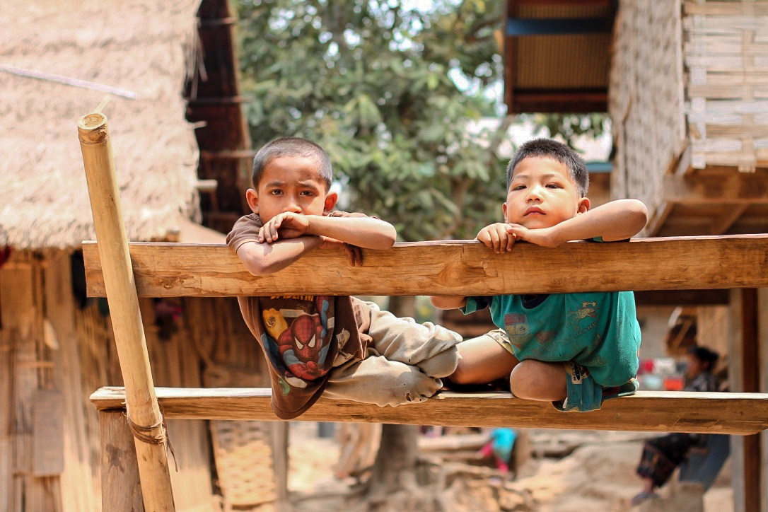 Two Children in a Laos Village