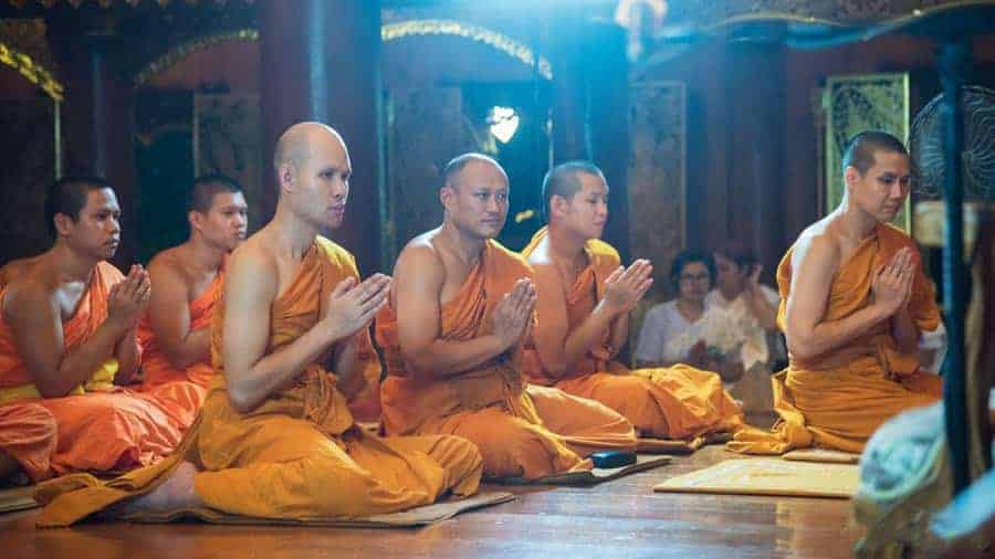 Monks meditate at the Northern Insight Meditation Centre.