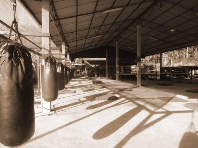 Punching bags hang from rafters at Tiger Muay Thai, Chalong, Thailand