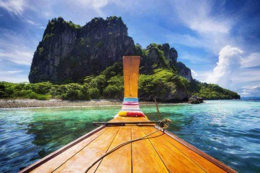 Long Tail Boat in Maya Bay, Koh Phi Phi, Thailand