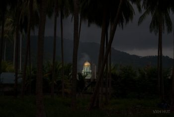 Samui's Central Mosque Seen Through The Trees At Night