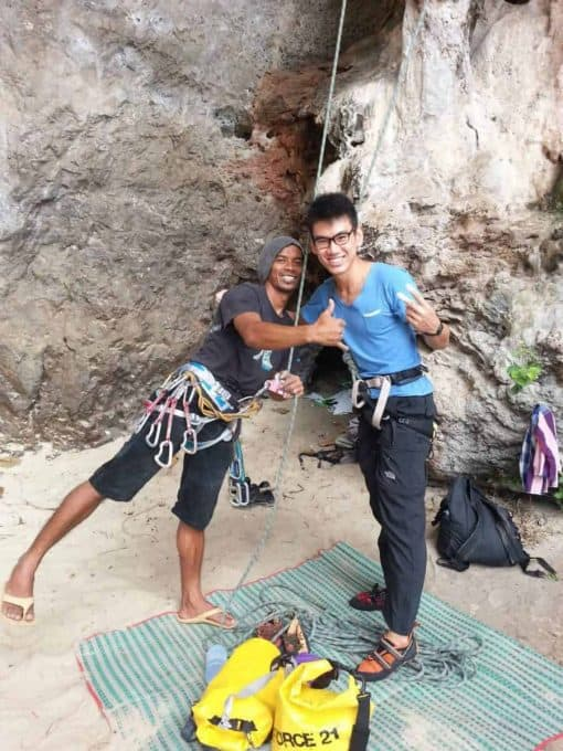 10400Rock climbing instructor and student, Krabi, Thailand.