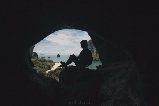 Inside a cave overlooking Krabi, Thailand.