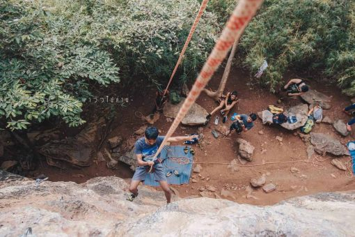 Abseiling down the rocks in Krabi, Thailand.