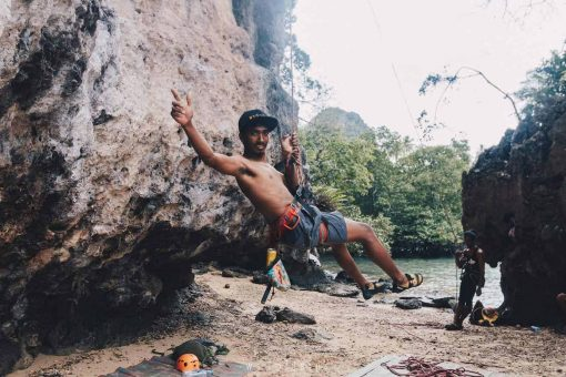Rock climbing instructor, Krabi, Thailand.